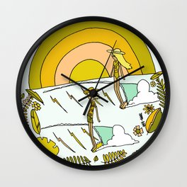 summer vibes forever // retro surf art by surfy birdy Wall Clock