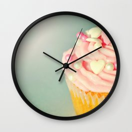 Pink Cupcake with love hearts. Wall Clock