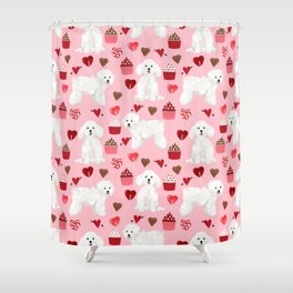 Bichon Frise valentines day dog gifts pet art portraits of your furry friend dog breeds Shower Curtain
