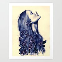 strong Art Prints featuring Bloom by KatePowellArt