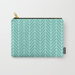 Turquoise Herringbone Pattern Carry-All Pouch