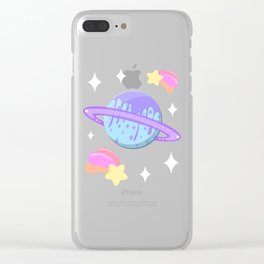 Melty Minty Planet Clear iPhone Case