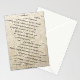 Desiderata Poem By Max Ehrmann Nr. 1001-1 Stationery Cards
