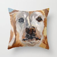 gemma correll Throw Pillows featuring Gemma the Golden Retriever by Barking Dog Creations Studio