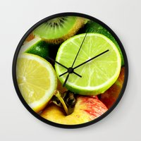 fruits Wall Clocks featuring Fruits by Vic Torys