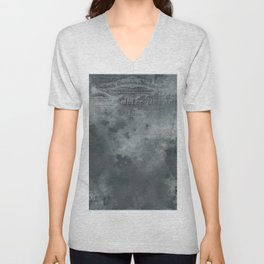 Dark grey letter vintage batic look Unisex V-Neck