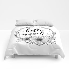 Hello March Line Art Comforters
