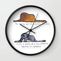 le petit prince Wall Clocks featuring Monoprinting Le Petit Prince by Devin Sullivan