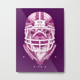 American Pug Football Purple Metal Print