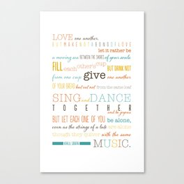 On Marriage: Kahlil Gibran Quote Typography Print Canvas Print