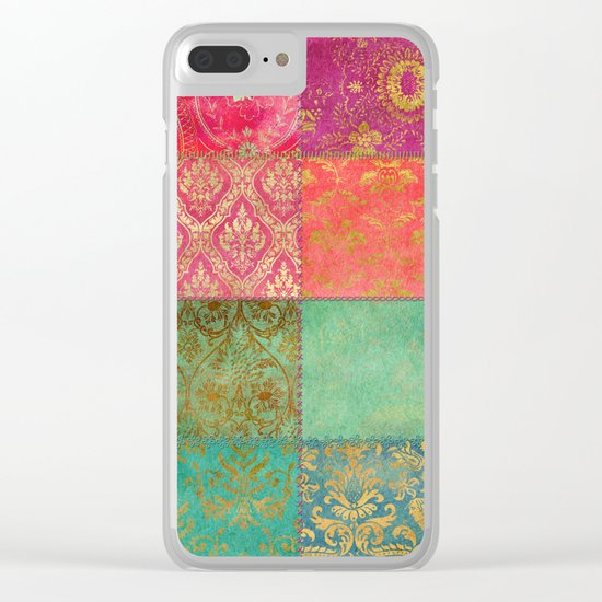 Royal Patchwork Clear iPhone Case