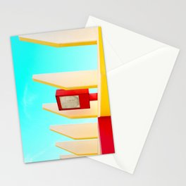 Architectural photography street lamp red+yellow / aqua sky Stationery Cards