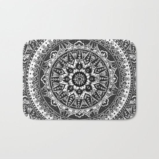 Black and White Mandala Pattern Bath Mat