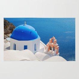 Blue Dome Church on Santorini Island Rug