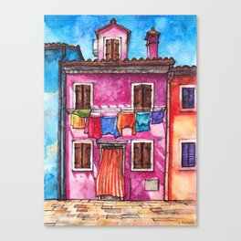 Burano laundry ink and watercolor illustration Canvas Print