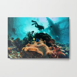 Colourful seascape with diver silhouette Metal Print