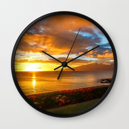 Honokeana Cove Sunset 3 Wall Clock