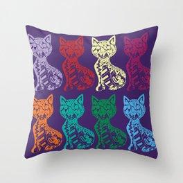 Folk Cats on paper film Throw Pillow