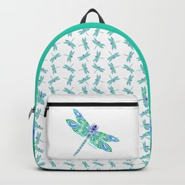 Tribal Dragonfly Blues and Greens Backpack