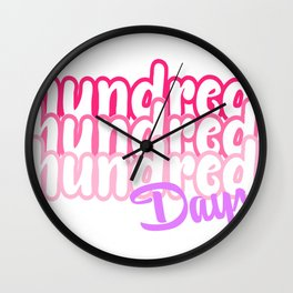 One Hundred Days of School Pastel Colors Hundred Repeat Wall Clock