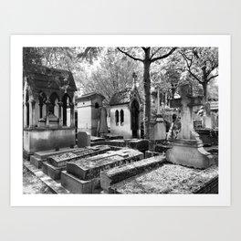 Père Lachaise Cemetery in Black and White, Paris France Art Print