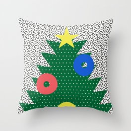 Memphis Christmas Tree Throw Pillow