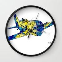 airplane Wall Clocks featuring Airplane by Irina  Mushkar'ova
