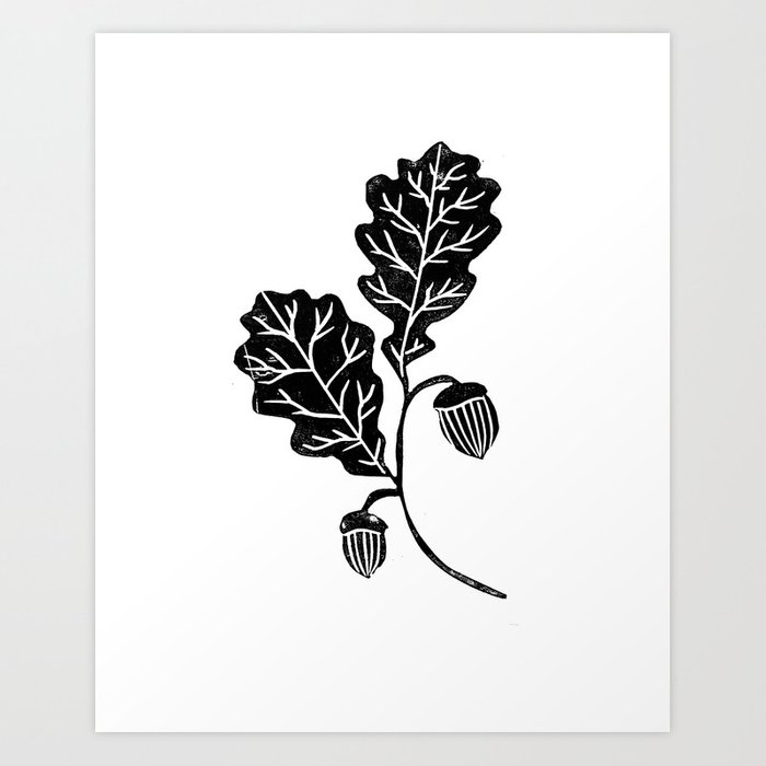 Oak Leaf Linocut Black And White Lino Illustration