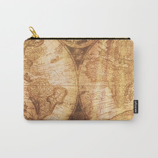 Antique World Map on Wood Carry-All Pouch