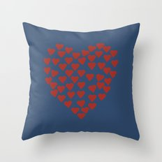 Hearts Heart Red on Navy Throw Pillow