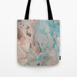 Fluid Art Acrylic Painting, Pour 17, Pastel Pink, Blue, Gray & White Blended Color Tote Bag