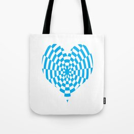Monochrome Daze Cyan Blue Heart Tote Bag