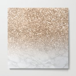 Sparkle - Gold Glitter and Marble Metal Print