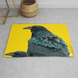 TWO CROW/RAVEN BIRD PORTRAITS & SUNFLOWERS GOLD  ART Rug