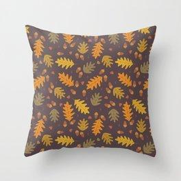 Oak Leaves dark Throw Pillow