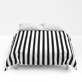 Black & White Small Vertical Stripes - Mix & Match with Simplicity of Life Comforters