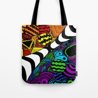 zentangle Tote Bags featuring Zentangle by Grace Thanda