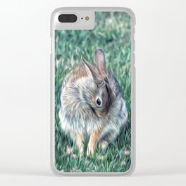COTTONTAIL IN THE CLOVER Clear iPhone Case