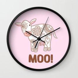 Cute Paisley Cow Wall Clock