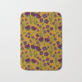 Purple and Gold Floral Seamless Illustration Bath Mat