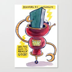 The Book-Reading Robot Canvas Print