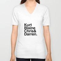 darren criss V-neck T-shirts featuring KurtBlaineChris&Darren by Annie