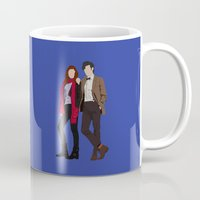 karen hallion Mugs featuring Matt Smith as Dr Who and Karen Gillan as Amy Pond by liamgrantfoto