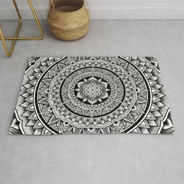 "Hypnotic Dotwork Flower Of Life Mandala - ""Barriers"" Rug"