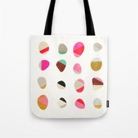 jazzberry Tote Bags featuring painted pebbles 1 by Garima Dhawan