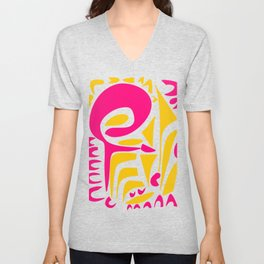 Summer Pop abstract pattern pink and yellow Unisex V-Neck
