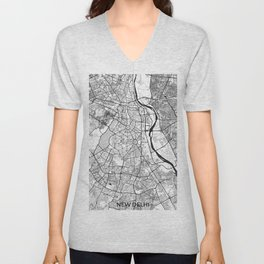 New Delhi Map Gray Unisex V-Neck