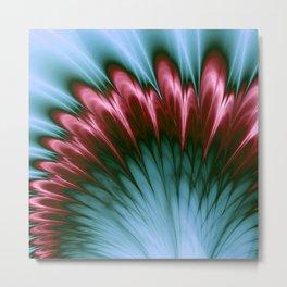 Pink and Aqua Feather Flurry Metal Print