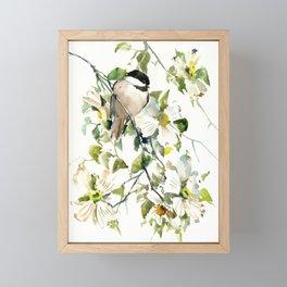 chickadee and dogwood, chickadee art design floral Framed Mini Art Print