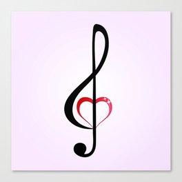 Heart music clef Canvas Print